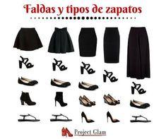 Faldas y tipos de zapatos: