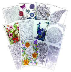 Set Of 12 Floral Themed Coloring Cards With Envelopes 1 Each Designs Heavy Stock Allows The Use Pencils Or Pens Colored