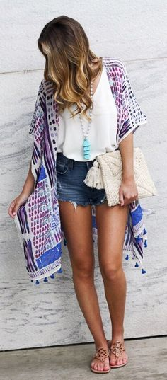 #summer #outfits  My Number One Closet Staple For Summer Is Definitely A Kimono! I Wear Them As A Swim Cover Up And Then Pair With Cutoffs And A Tank For An Easy Summer Outfit! This One Is My New Favorite For The Bright Print And Tassels! The Best Part? It's Only $30!