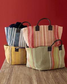"Cottage Stripe Cotton Storage Basket Size: 10"" H x 12"" W x 12"" D $34"