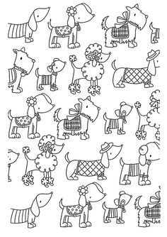 Free coloring page coloring-adult-difficult-dogs-elegants. Cute and elegant dogs ... a simple coloring page