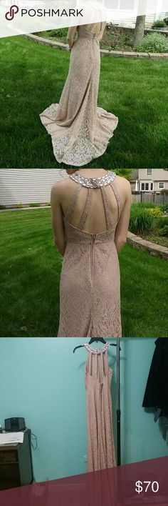 Beautiful Prom Dress 💎 Get ahead of the prom game with this simple, beautiful dress! It is a neutral, pinky tone with a lace pattern and sequin/gemstone detailing around the waist and neck. Unique cutout on the back and can be laid out beautifully! It doesn't even need a lot of jewelry because of the neckline. Just some simple earrings and heels will tie it all together. Sequin Hearts Dresses Prom #promheelsneutral