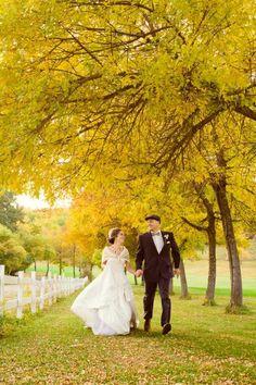 ball gown wedding dresses, ivory bridal cover-ups, yellow fall wedding #2014 Valentines Day www.dreamyweddingideas.com