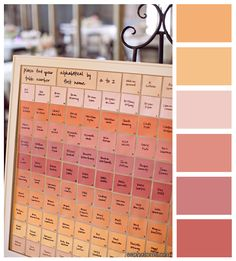 Pretty peach wedding color palette and seating chart. I wonder if you could use paint chips for this...