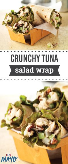 Crunchy Tuna Salad Wrap – A few fresh ingredients are the secret to this tasty new version of a tuna salad recipe. Bring together whole wheat tortillas, lettuce, celery, water chestnuts, and pecans for a lunchtime dish that's ready in just 10 minutes. Tuna Recipes, Wrap Recipes, Seafood Recipes, Salad Recipes, Vegetarian Recipes, Dinner Recipes, Cooking Recipes, Healthy Recipes, Vegetable Recipes