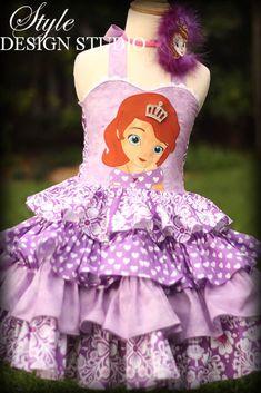 Sophia the First Girls Ruffled Disney Dress by StyleDesignStudio, $250.00