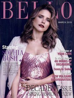"""Sophia Bush wearing Monique Lhuillier on the March 2015 cover and in inside editorials of Bello Magazine, article entitled """"Sophia Bush Is Packing Heat."""""""