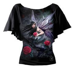 Spiral Direct - Rose fairy - Latin Boat Neck Top - Black [AS138237] - £16.19 :