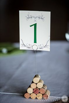 wine cork wedding table numbers at The Mountain Top Inn Resort