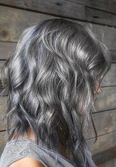 ash silver hair color idea (balayage)