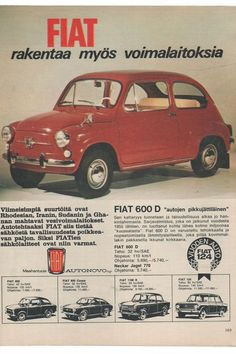 Apu Our family had red and then white Fiat Fiat 600, Fiat Cars, Old Commercials, Car Brochure, Good Old Times, Car Advertising, Retro Cars, Vintage Ads, Childhood Memories