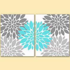 "Flower Bursts Botanical Printable Art 2 -8"" x 10"" // Grey and Tiffany Blue // Digital Fine Art Modern Wall Art Set Prints Home Decor (108) on Etsy, $10.00"