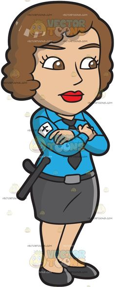 An Observant Female Airport Security Guard :  A woman with brown curly hair wearing a blue button up shirt dark gray necktie white arm badge belt skirt and flats crosses her arms over her chest  The post An Observant Female Airport Security Guard appeared first on VectorToons.com.  #clipart #vector #cartoon