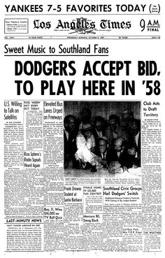The Dodgers officially left Brooklyn in 1957 and became the Los Angeles Dodgers that year. Dodgers Gear, Dodgers Nation, Dodgers Shirts, Dodgers Baseball, Dodgers History, Sandy Koufax, 3 Strikes, Sports Headlines, Dodger Blue