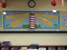Lighthouse+Bulletin+Board+Ideas | Original!! I made the lighthouse using 5 pool noodle halves, duct tape ...