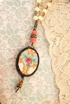 Vintage floral, broken china charm necklace...
