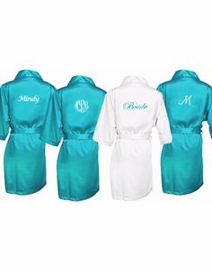 Silky Custom Embroidered Wedding Party Robe