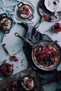 A German Breakfast That You'll Want To Wake Up For: Dutch Babies with Brandy Roasted Rhubarb & Strawberries - Christiann Koepke