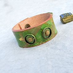 Women leather tribal cuff bracelet