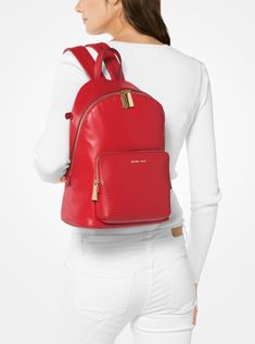 53a134ae6ab4 Buy Michael Kors Bright Red Wythe Large Perforated Leather Backpack Store