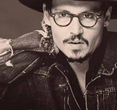 Johnny Depp, male actor, glasses, steaming hot, celeb, portrait, photo b/w.
