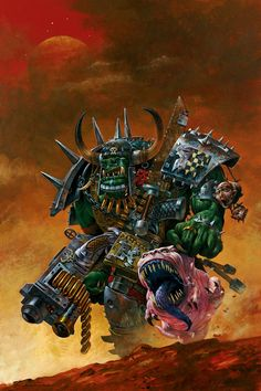 Ork Warboss with Attack Squig. This image was originally created for Inferno! Magazine.  Artist – Adrian Smith  Released – 2003
