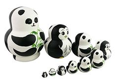 Cute Creative Animal Twosided Panda and Penguin Handmade Wooden Matryoshka Dolls Russian Nesting Dolls Set 10 Pieces For Kids Toy Birthday Christmas Gift Home Decoration ** Details can be found by clicking on the image. #NoveltyandGagToys