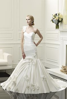 Brides: Val Stefani - Spring 2014. Style D8056, one-shoulder silk taffeta mermaid wedding dress with a ruched sweetheart bodice and floral accents on the strap and skirt, Val Stefani