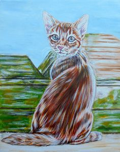 NFAC original cat art acrylic painting abyssinian kitten  #ArtDeco