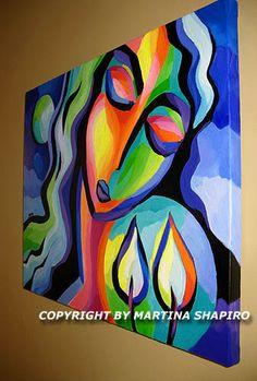 The Light Of Shabbat, contemporary, expressionist Jewish Judaic original oil painting by artist Martina Shapiro
