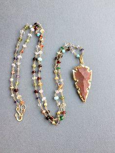 Jasper Arrowhead Necklace Multicolor Gemstone Chain Gold