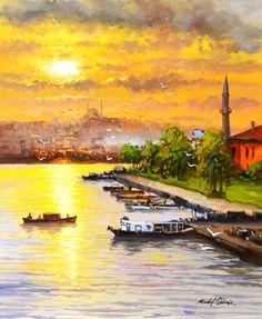 İSTANBUL' DA KIYI MANZARASI -Sanatçı : Mustafa ELDENİZ