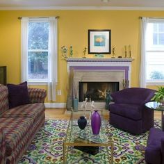 mustard walls with plum and grey accents - Google Search
