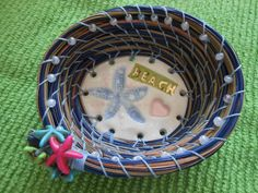 Darling Little beachy Pine Needle Basket 18k gold by pammyscrafts on Etsy