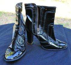 Gianni Bini Black Leather Heel Dress Boots