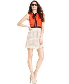 Kensie Dress, Sleeveless Colorblock Lace A-Line - Dresses - Women - Macys Orange, Biege