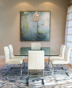 Pratt Designs :: Cherry Creek :: Contemporary Bright Dining Room with Roche Bobois Dining Table and Chairs #interiordesign #contemporary #diningroom #rochebobois #fusionlighting #Denver #cherrycreek #Colorado