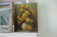 Vintage Yellow Roses Painting on Antique Canvas and Wood Shabby Chic Cottage at Retro Daisy Girl