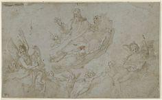 God de Vader met musicerende engelen, Raffaellino da Reggio, 1560 - 1578