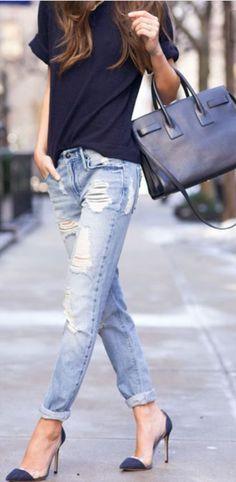 f79d3edd1d boyfriend   t-shirt dressup Boyfriend Jeans Outfit Summer