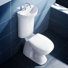 Save on your monthly water bill by setting up this toilet sink in your bathroom. The lid of the toilet comes with an integrated sink which has a special basin that allows water to drip down to the tank for more efficient water use.]Read More. Small Space Living, Tiny Living, Living Room, Lavabo Design, Sink Design, Design Art, Modern Design, Stand Wc, Toilet Suites
