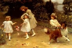 LOVE AT FIRST SIGHT BOY GIRL MEETING CHILDREN PAINTING BY ARTHUR ELSLEY REPRO | Art, Art from Dealers & Resellers, Other Art from Resellers | eBay!