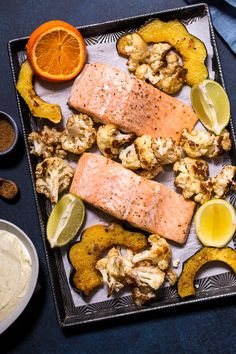 Sheet Pan Salmon with Garam Masala Squash and Cauliflower | Girl In The Little Red Kitchen