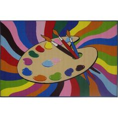 """Fun Rugs Painting Time Kids' Rug, Multi-Color, 3'3"""" x 4'10"""""""
