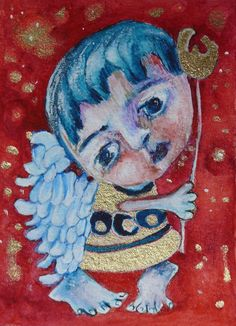 ACEO folk art Angels painting original  naive primitive watercolor & acrylic #NaivePrimitive