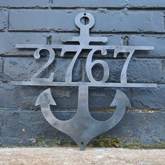 Nautical Address Sign - Metal Anchor Front Porch Home Decor - Beach House Wall Art - 18 x 18 / Outdoor Gloss Clear