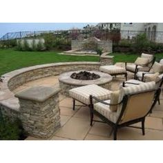 Stamped concrete pattern and fire pit