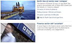 A look at the BBC's coverage of the slump in oil prices. Are they starting to discredit an independent Scottish economy in the run up to the Westminster elections?