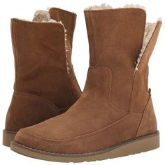 Sanuk Drop Top Suede (Chestnut) Women's Pull-on Boots ($95) ❤ liked on Polyvore featuring shoes, boots, ankle booties, ankle boots, platform booties, fold over ankle boots, low heel booties and suede platform booties