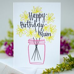 Happy Birthday Mum card Happy Birthday Mum card - ©️️ 2015 Betty Etiquette<br> Designed in pink and green with a bunch of flowers, this birthday card carries a simple message, created by Betty Etiquette to celebrate Mum's birthday. Happy Birthday Mum Cards, Birthday Cards For Mother, Bday Cards, Handmade Birthday Cards, Mom Birthday, Happy Birthday Mother, Mum Birthday Present, Birthday Card Quotes, Birthday Wishes
